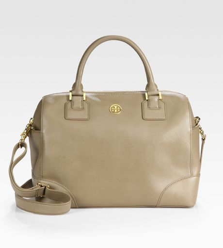 Tory Burch Robinson Satchel in Brown (clay) - Lyst