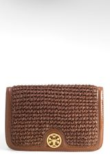 Tory Burch Straw Turnlock Clutch - Lyst