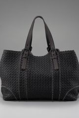 Bottega Veneta Topstitched Woven Leather Tote in Black - Lyst