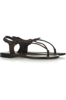 Bottega Veneta Flat Leather Sandals - Lyst