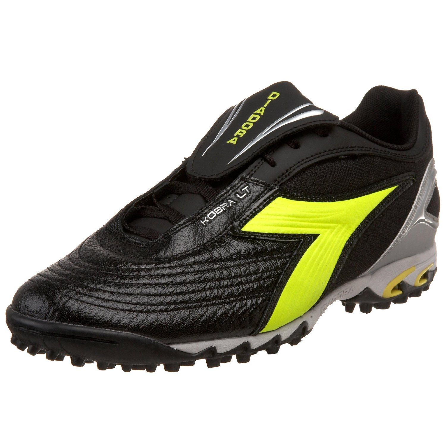diadora mens kobra lt turf soccer shoe in black for