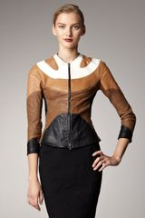 Donna Karan New York Pieced Leather Jacket - Lyst
