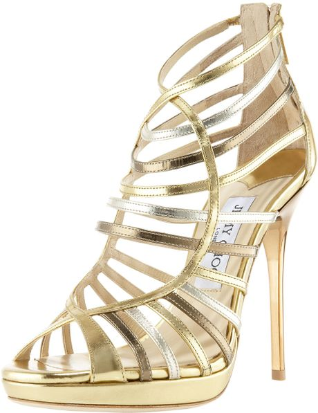 Jimmy Choo Mixedmetallic Strappy Sandal in Gold (multi) - Lyst