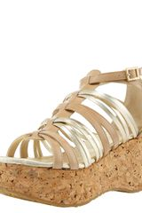 Jimmy Choo Patent & Metallic Strappy Cork-wedge Sandal - Lyst
