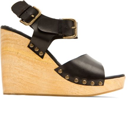 Mango Touch Wood Wedge Sandal in Black (02) - Lyst