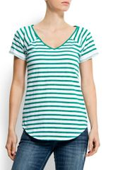 Mango Cotton Striped T-shirt - Lyst