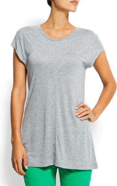 Mango Round Neck Tshirt in Gray (37) - Lyst