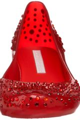 Melissa  Ballerina Flats in Transparent (red/crystal) - Lyst