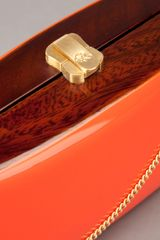 Rocio Leather Covered Wooden Clutch Bag in Orange - Lyst