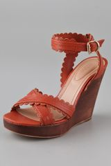 See By Chloé Scallop Wooden Wedge Sandals - Lyst
