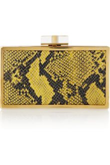 Stella McCartney Ava Metal-framed Faux Python Box Clutch - Lyst