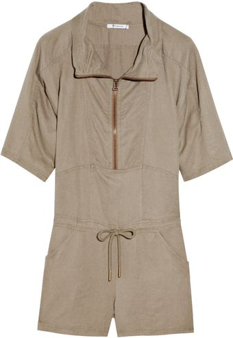 T By Alexander Wang Tencel and Linen-blend Playsuit - Lyst