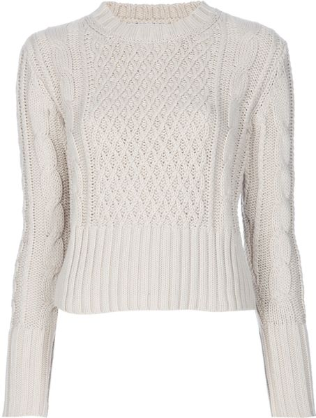 Acne Studios Lia Cable Jumper in Beige (nude) - Lyst