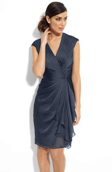 Adrianna Papell Faux Wrap Chiffon Dress in Blue (stream) - Lyst