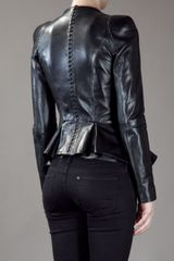 Alexander Mcqueen Structured Leather Blazer in Black - Lyst
