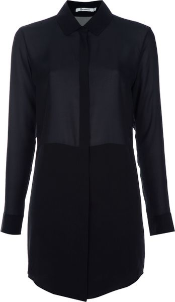 T By Alexander Wang Shirt Dress in Black - Lyst