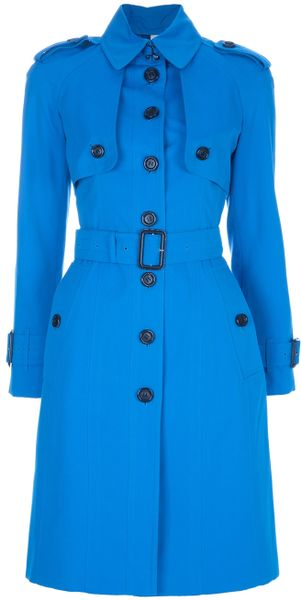 Burberry Trench Coat in Blue - Lyst