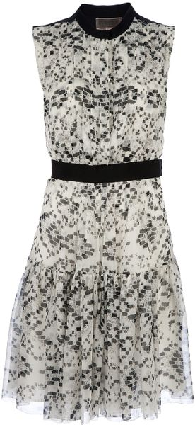 Giambattista Valli Patterned Silk Dress in Black (white) - Lyst