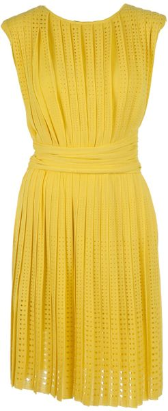 Giambattista Valli Perforated Pleated Dress - Lyst