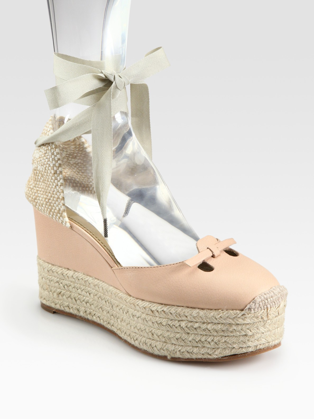 Marc Jacobs Mouse Lace Up Leather Espadrille Wedge Sandals