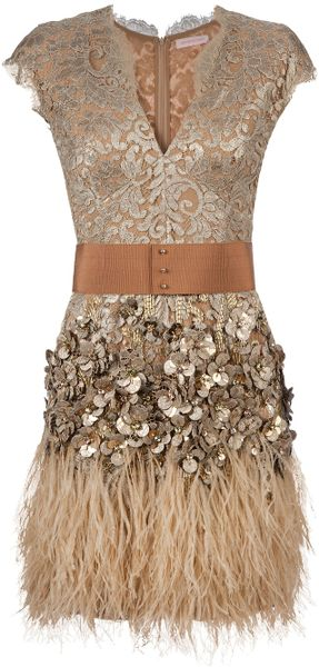 Matthew Williamson Feather and Crystalembellished Dress in Beige - Lyst
