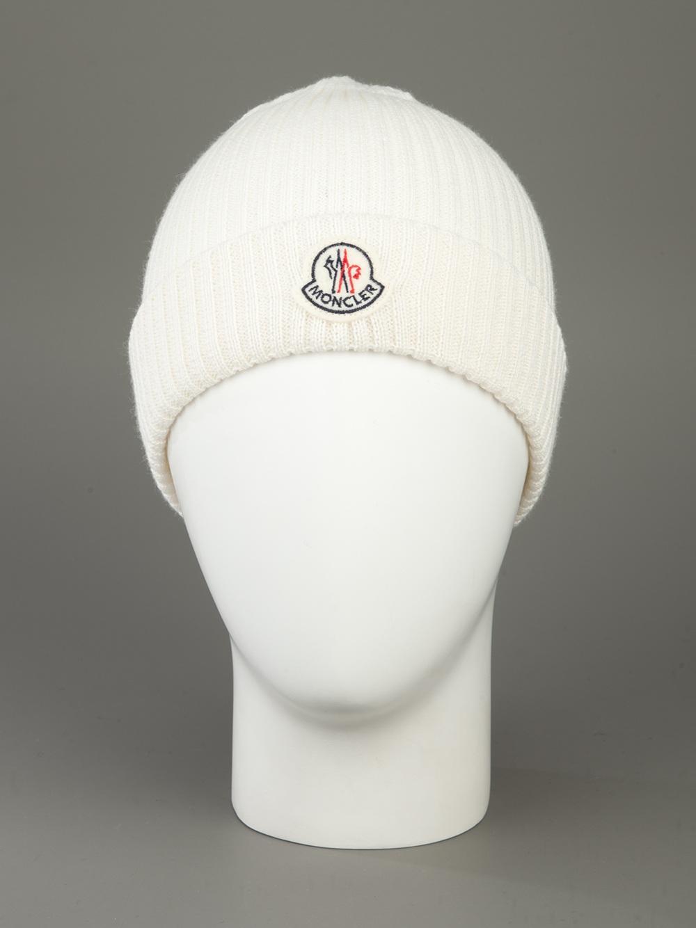 Moncler Cappellino Beanie in White for Men - Lyst 3acd0685fae