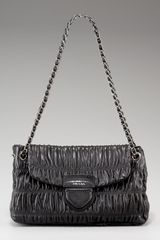 Prada Napa Gaufre Chain Shoulder Bag, Nero Or Argill - Lyst