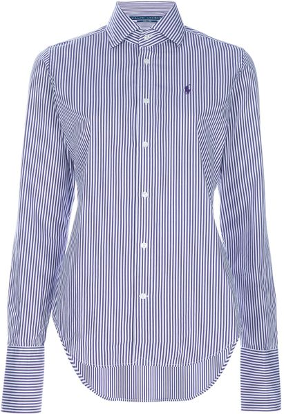 Ralph Lauren Blue Label Fitted Cotton Shirt in Purple - Lyst