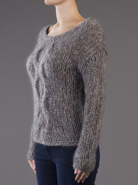 Raquel Allegra Cropped Cable Knit Sweater in Gray (grey) Lyst