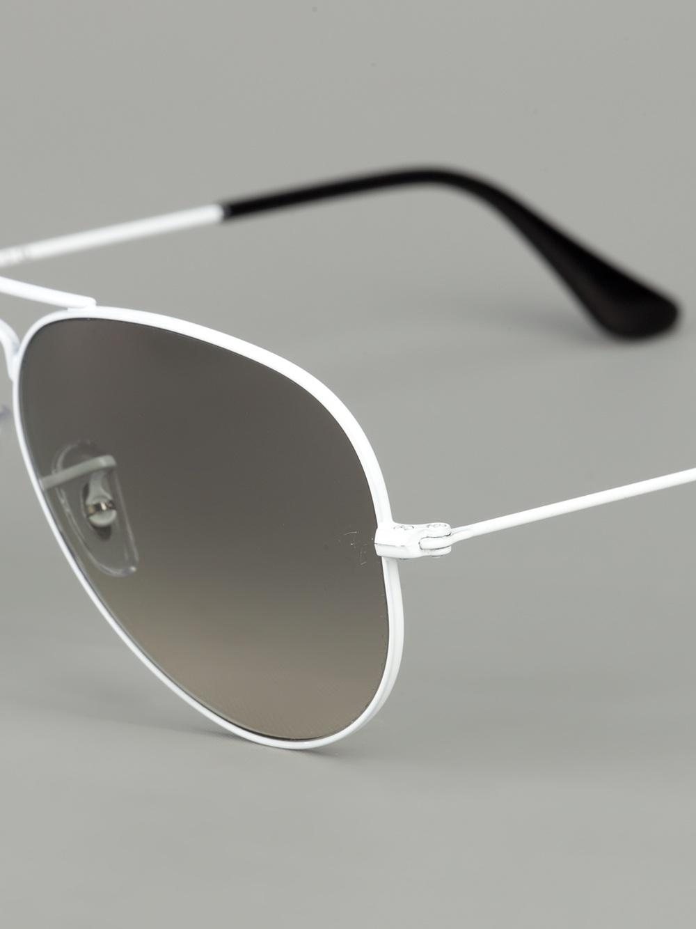 Ray Ban Aviator Sunglasses In White Lyst