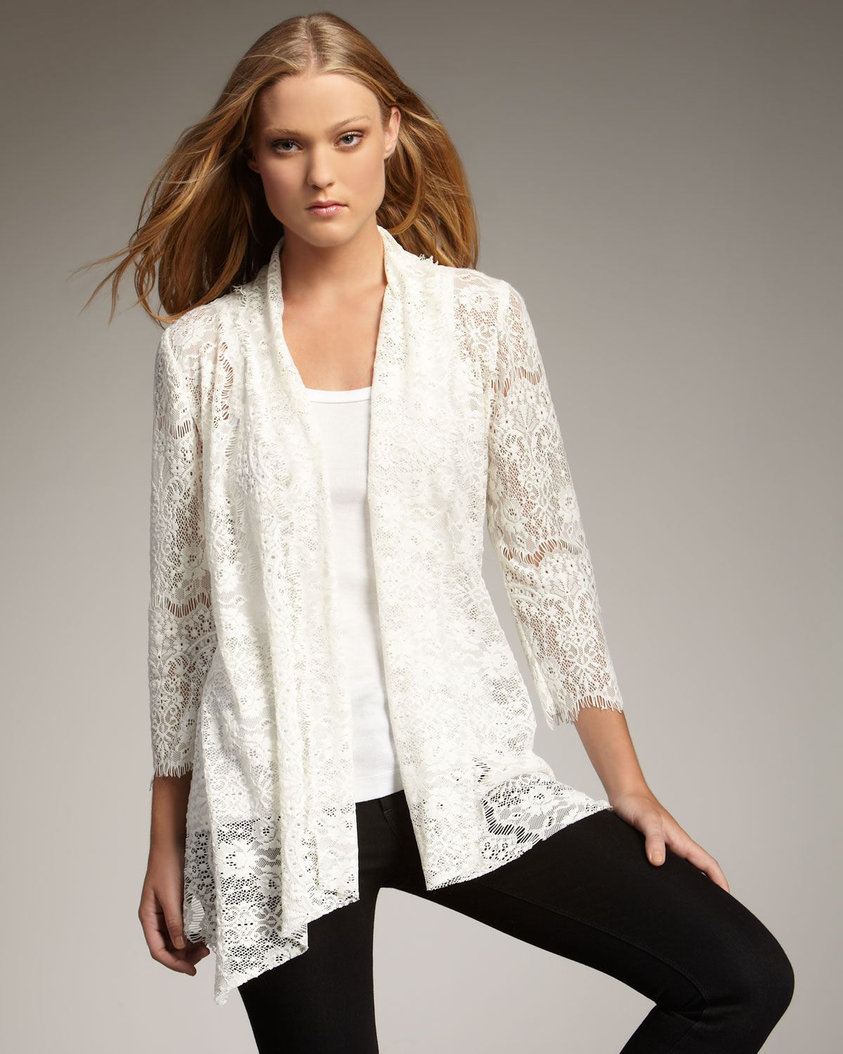 Royal underground Open Lace Cardigan in White | Lyst