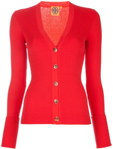 Tory Burch Ribbed Cardigan in Red - Lyst