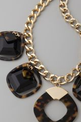 Tory Burch Resin Square Necklace in Gold - Lyst