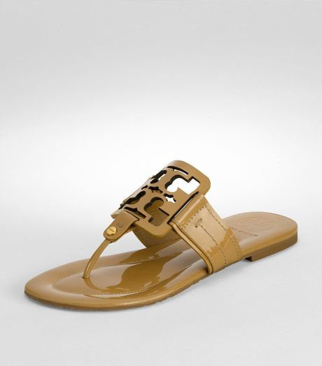 Tory Burch Patent Square Miller Sandal In Brown Sand Lyst
