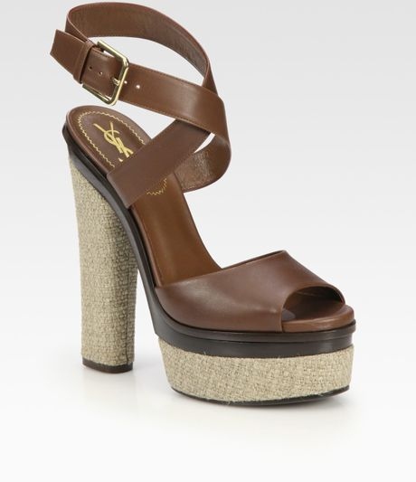 Yves Saint Laurent Leather and Hemp Platform Sandals in Brown (cognac) - Lyst