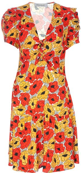 Yves Saint Laurent Floral Print Dress - Lyst