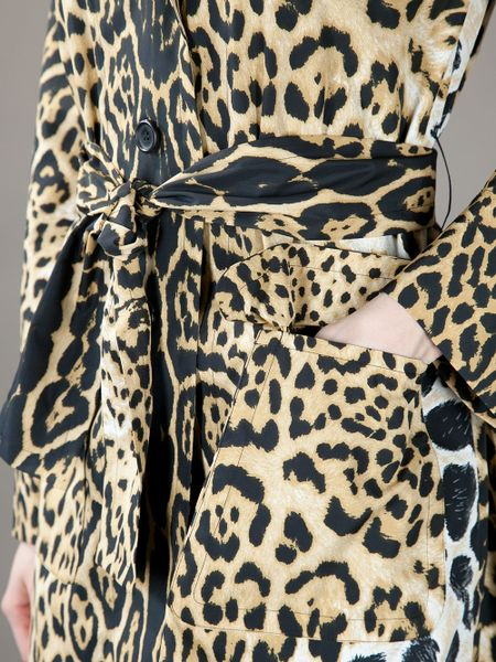 Saint Laurent Leopard Print Coat In Animal Leopard Lyst