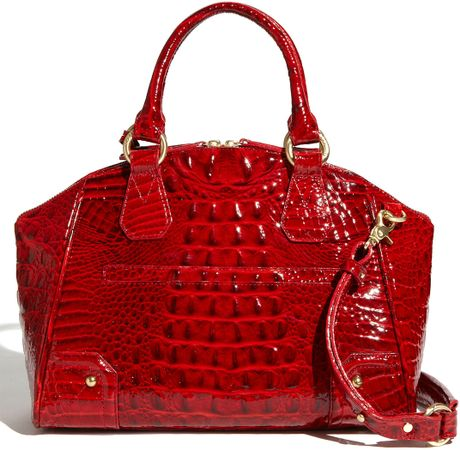 Brahmin Glossy Melbourne Tyler Satchel in Red (lacquer red ...