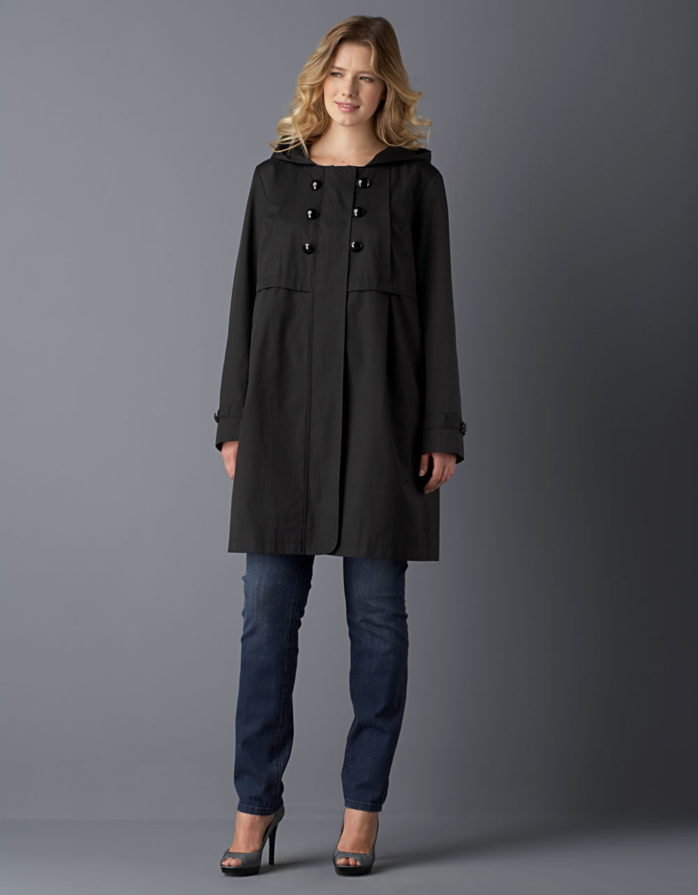 Dkny Plus-size Naomi Babydoll Coat in Black | Lyst