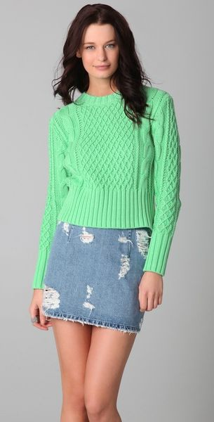 Acne Studios Lia Cable-knit Cotton Sweater in Green (mint)
