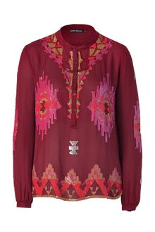 Antik Batik Burgundy Embroidered Silk Tunic Top - Lyst