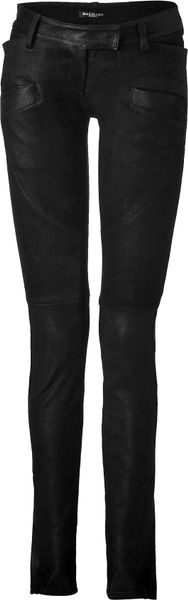 Balmain  Low Rise Leather Pants in Black - Lyst