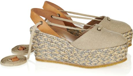 Chloé Leather and Canvas Platform Espadrilles in Gray - Lyst
