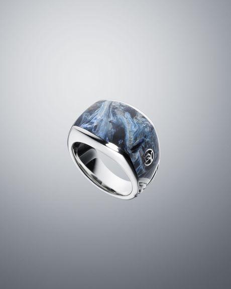 David Yurman Three Sided Pietersite Seamless Ring In Blue