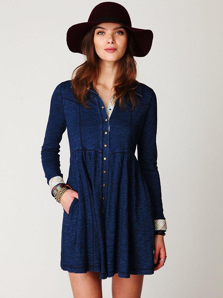 Lyst Free People Denim Knit Shirt Dress In Blue