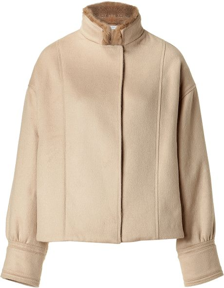 Givenchy Beige Wool Blend Jacket with Mink Collar in Beige - Lyst