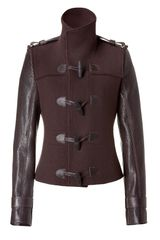 Givenchy Brown Duffle Jacket with Leather Sleeves in Brown - Lyst