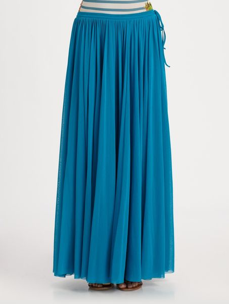 jean paul gaultier pleated maxi skirt in blue turquoise