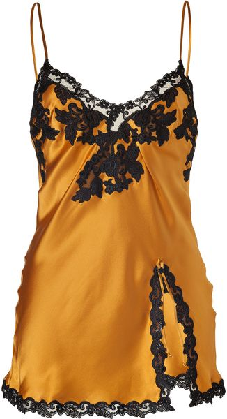 La Perla Golden Glow Silk Cami with Black Lace Trim - Lyst