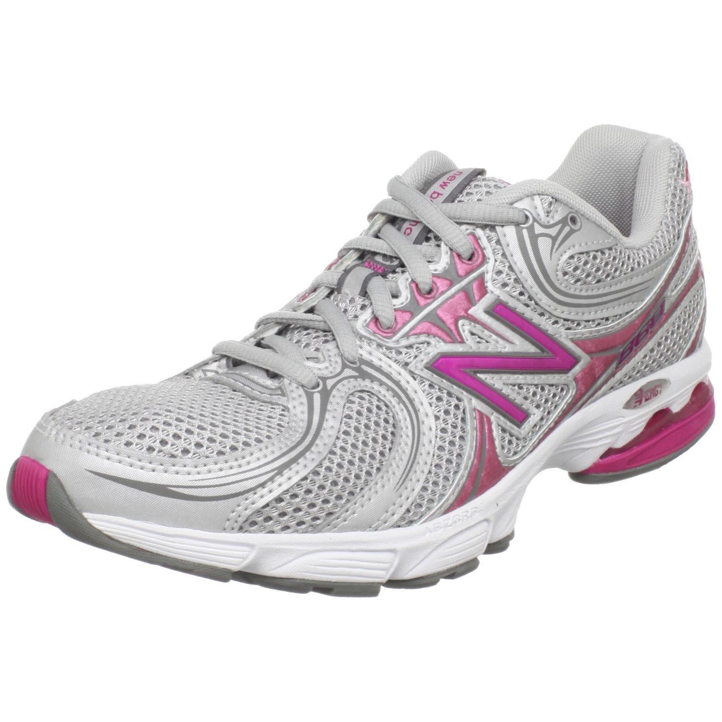 new balance womens ww860 walking shoe in gray silver pink